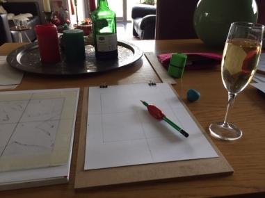 Huiswerk maken voor de tekenles.